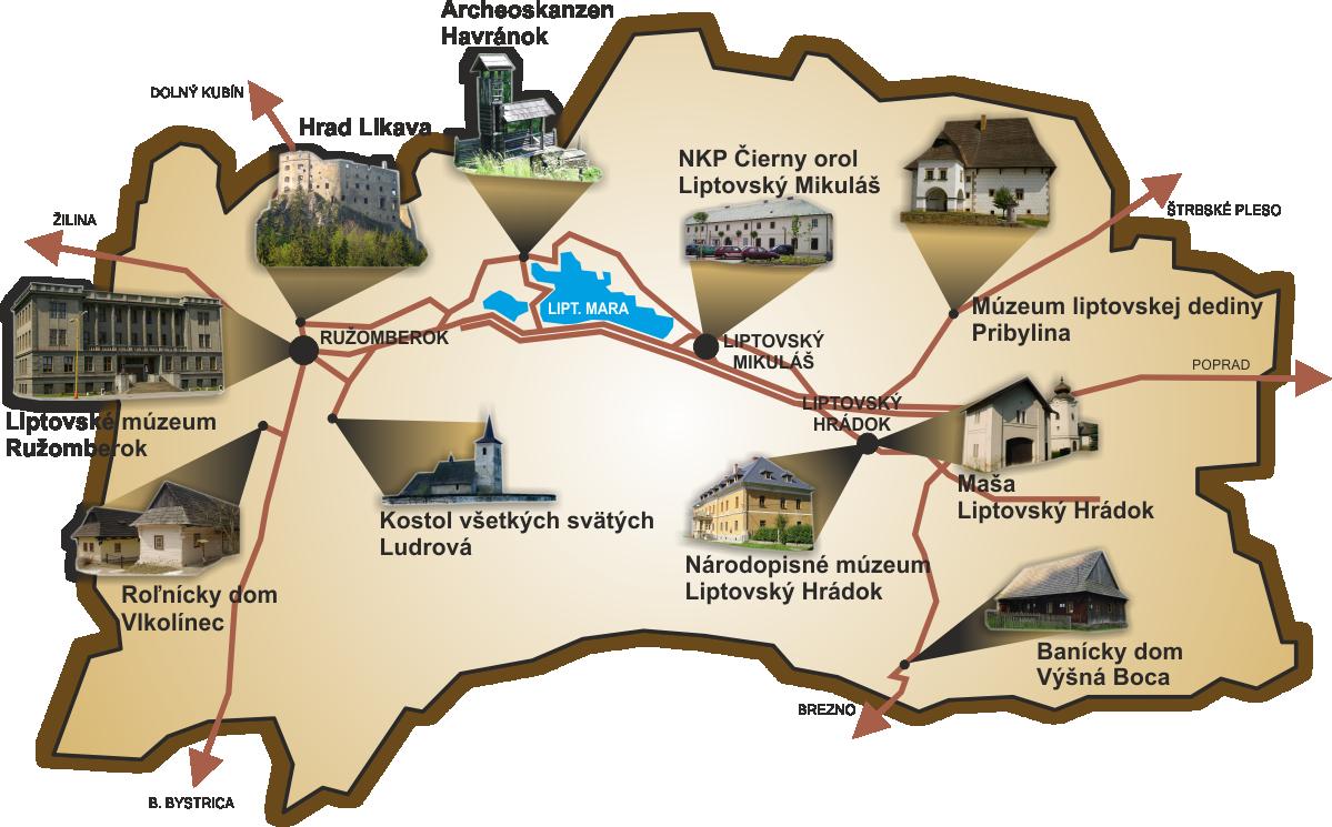 Expozície Liptovského múzea v Ružomberku na mape Liptova