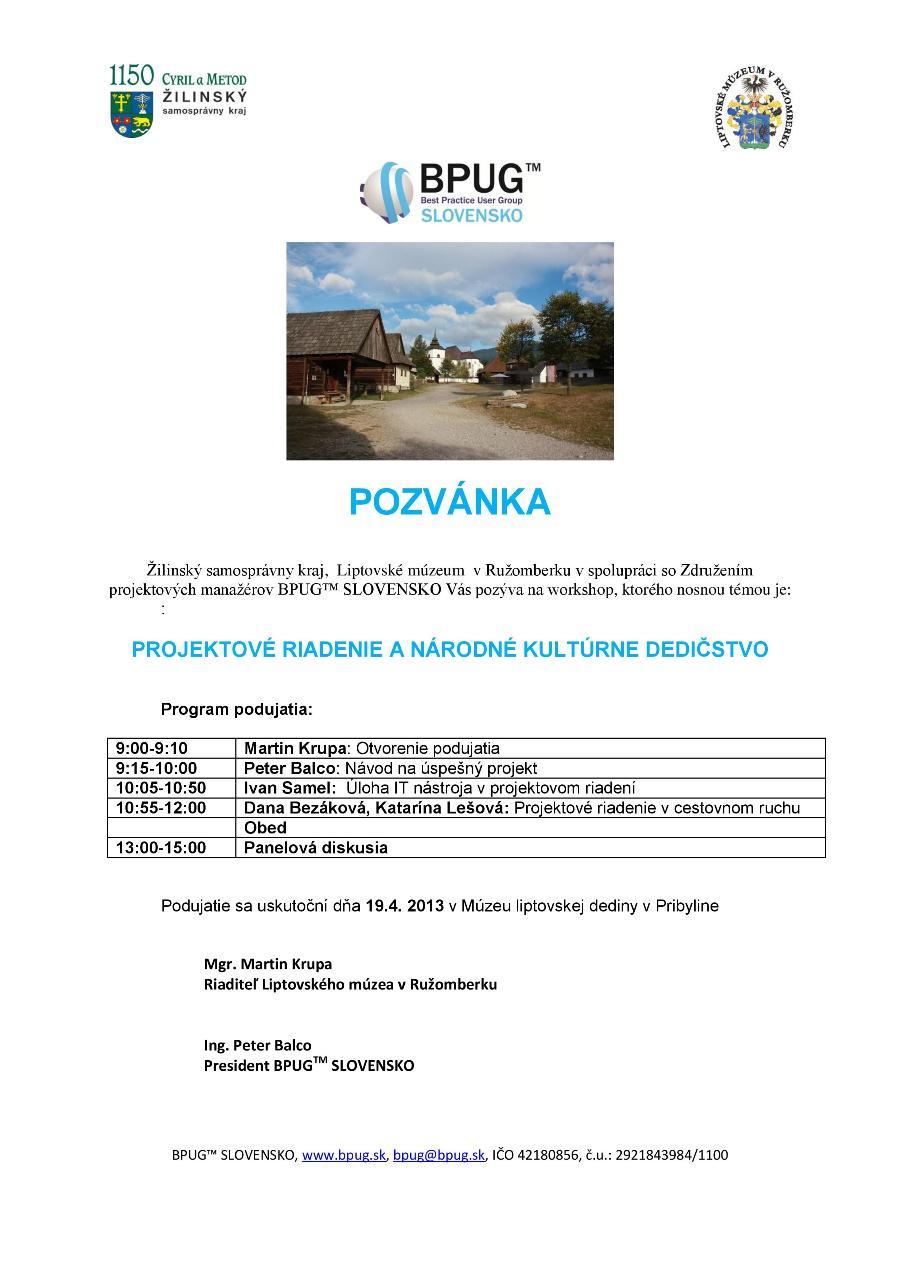 Workshop - Projektové riadenie a národné kultúrne dedičstvo